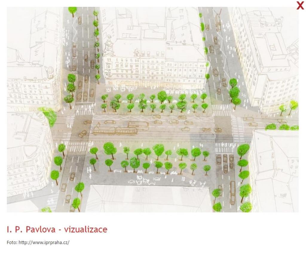 Vizualizace Proměny okolí magistrály u I. P. Pavlova