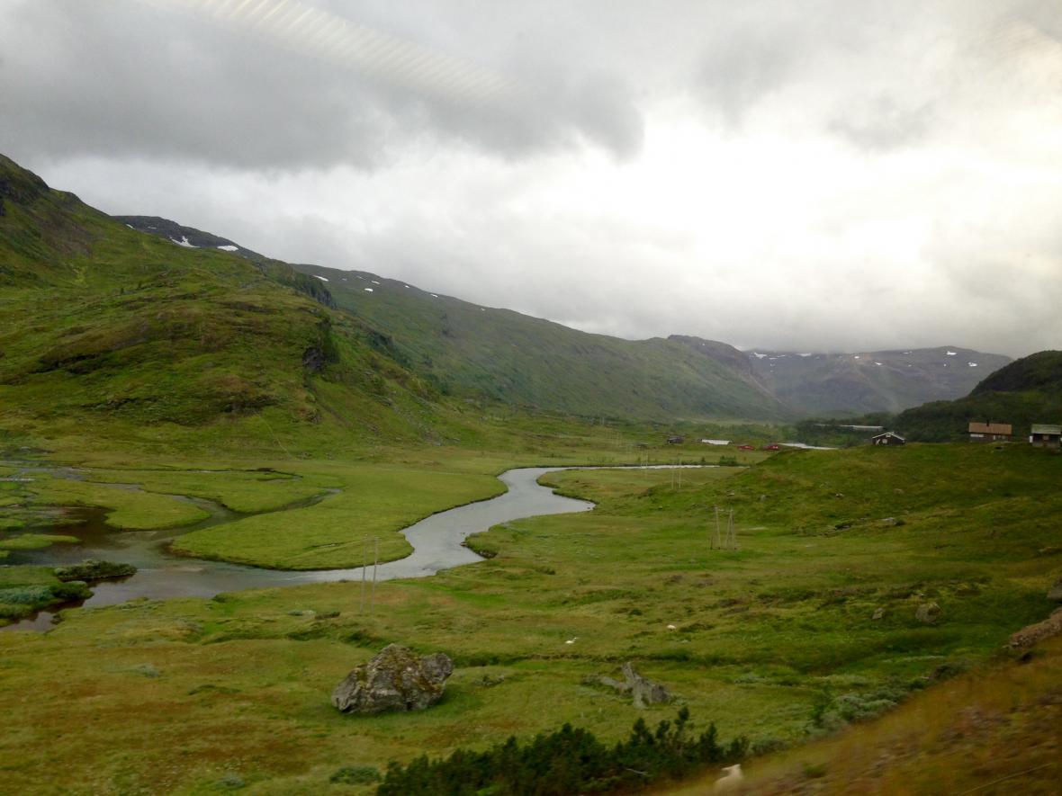 Výhled z vlaku cestou zpět do Bergenu