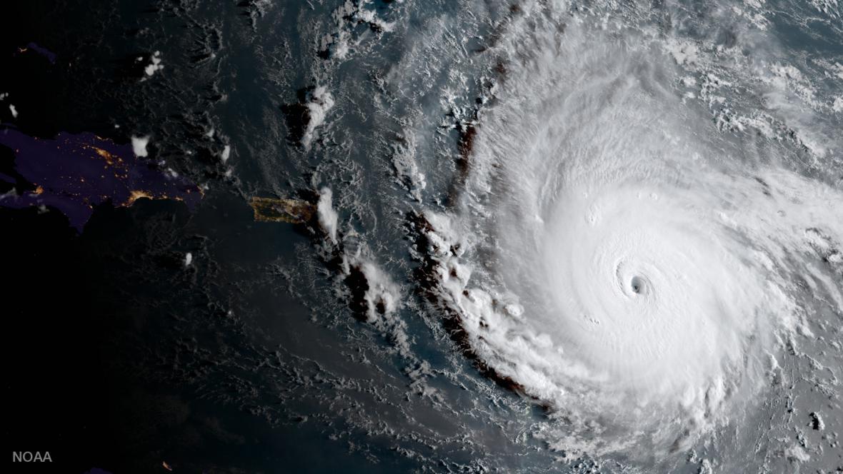 Satelitní snímek hurikánu Irma