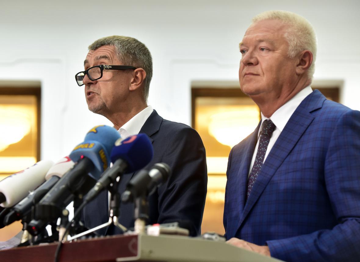 Andrej Babiš a Jaroslav Faltýnek (oba ANO)
