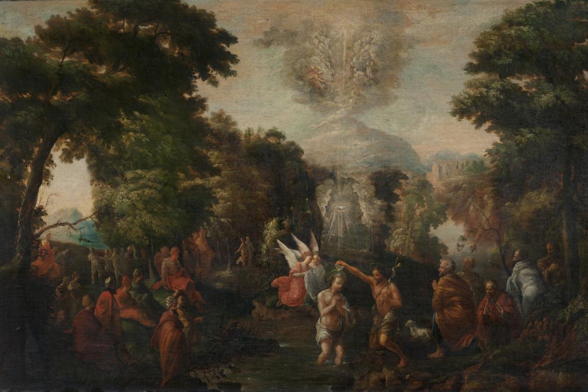 Obraz flámského mistra z druhé poloviny 17. století s názvem Křest Kristův