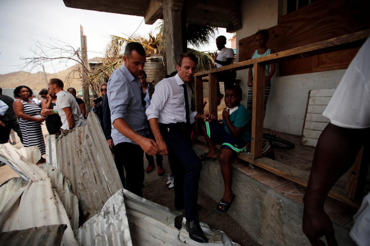 Emmanuel Macron na ostrově Svatý Martin