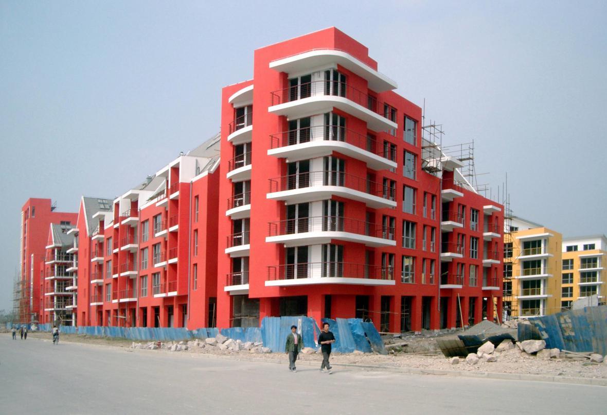 Speerovy bytové domy na předměstí Šanghaje