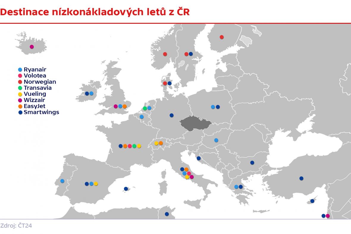 Destinace nízkonákladových aerolinií v Praze