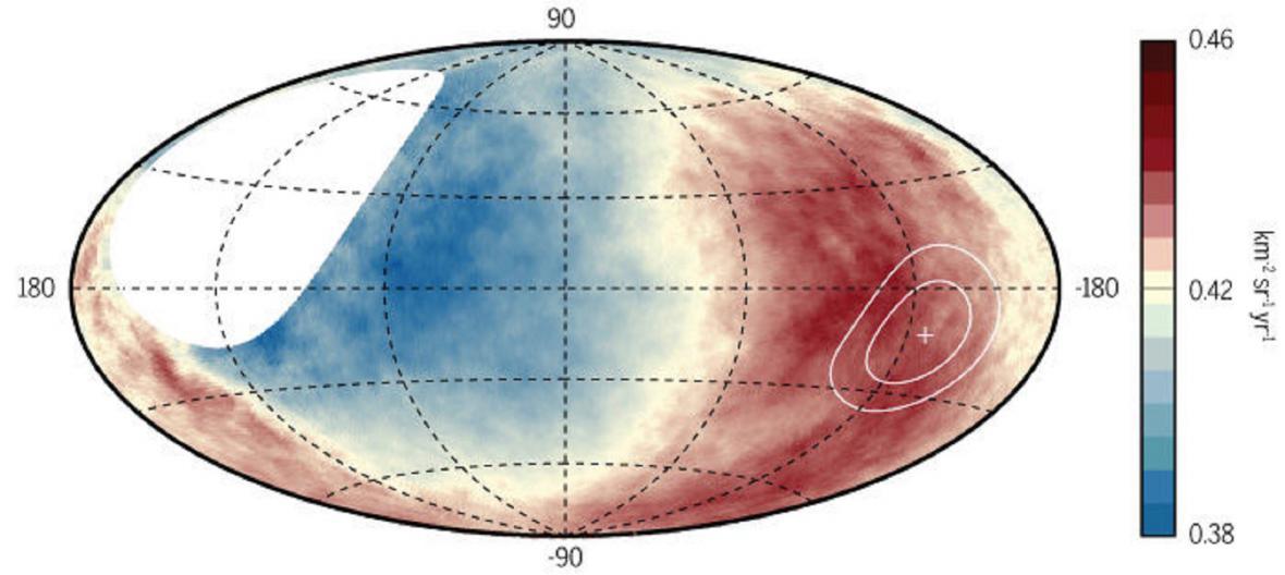 Červené oblasti ukazují, odkud přichází nejvíce částic