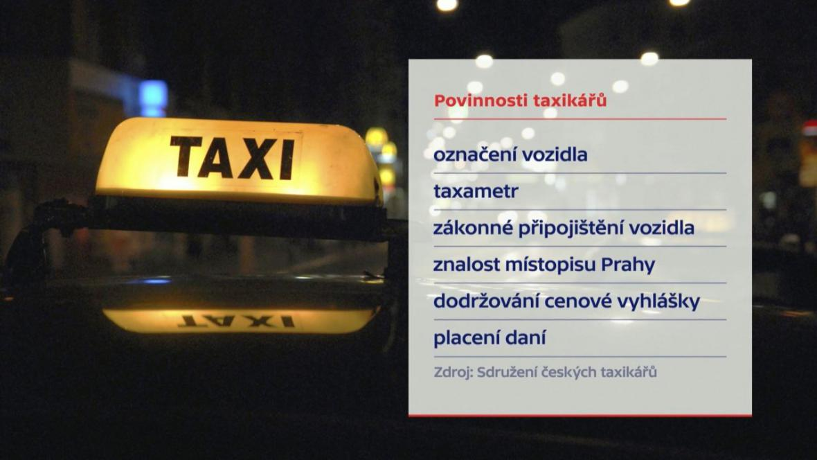 Povinnosti taxikářů