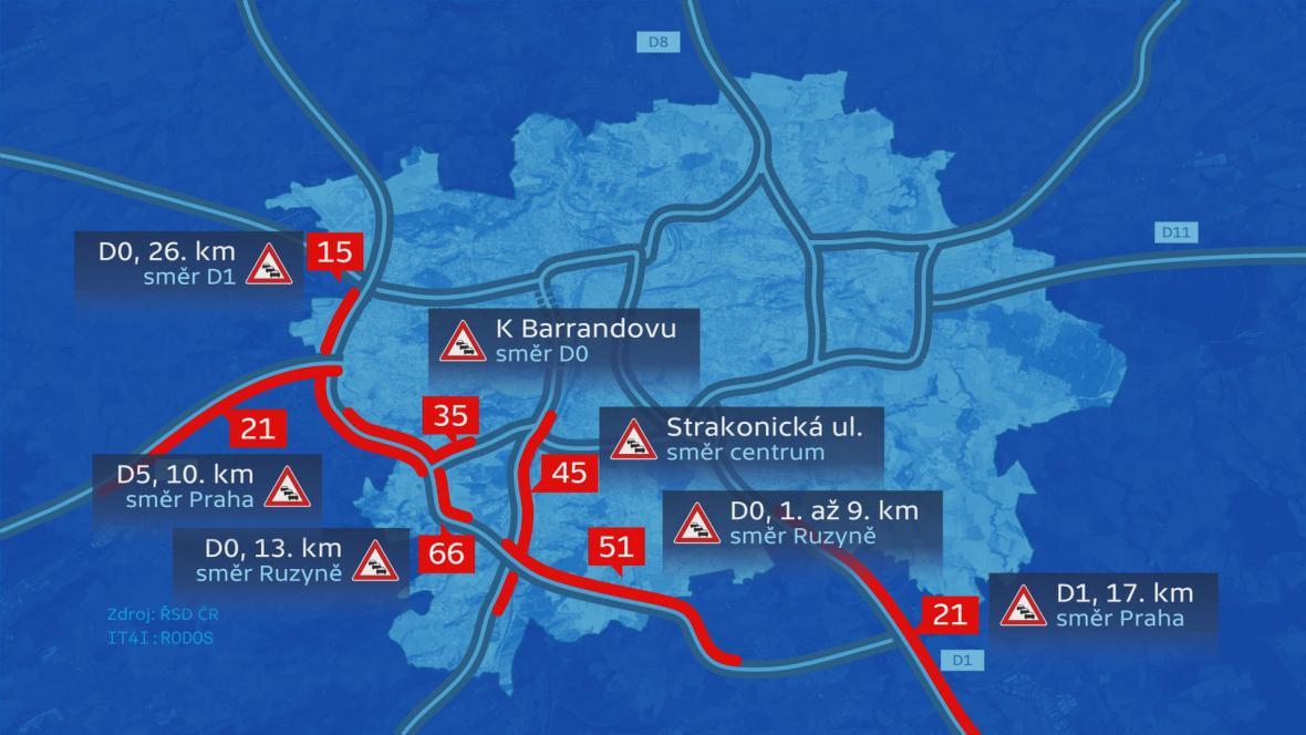 Zácpy na Pražském okruhu