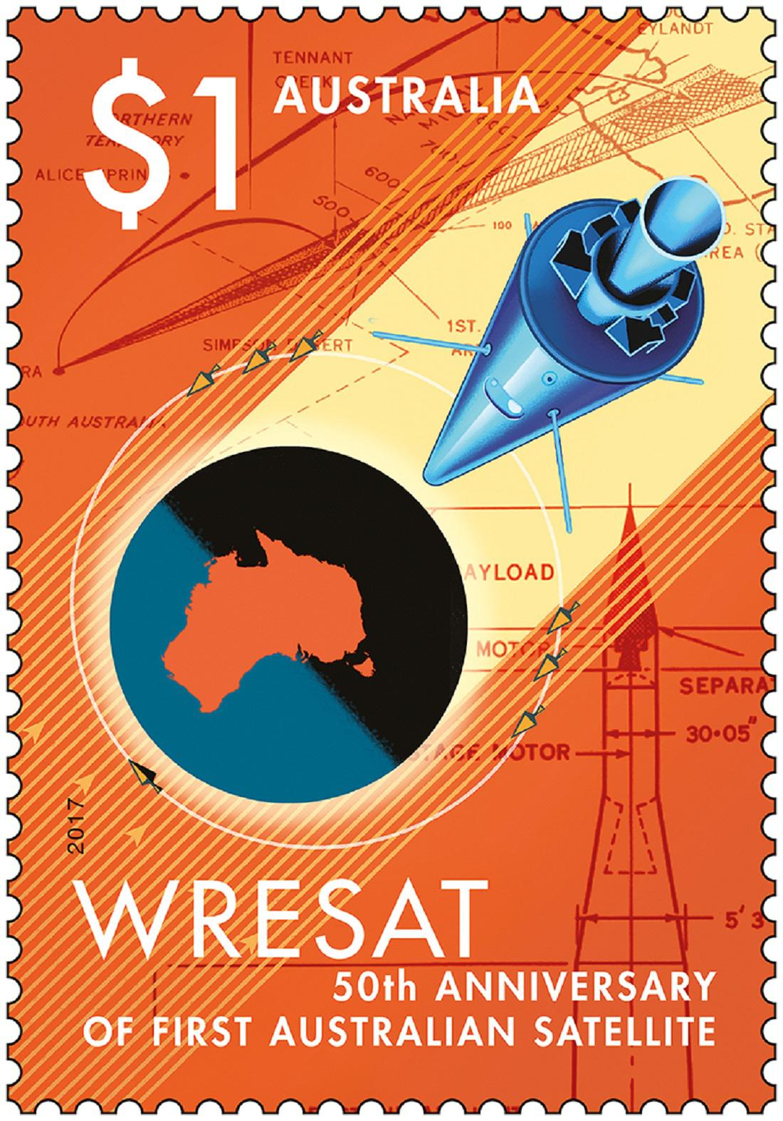Letos vydaná známka slaví první vypuštění australského satelitu