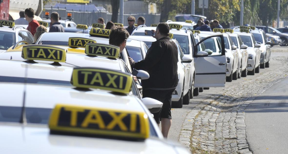 Protest brněnských taxikářů