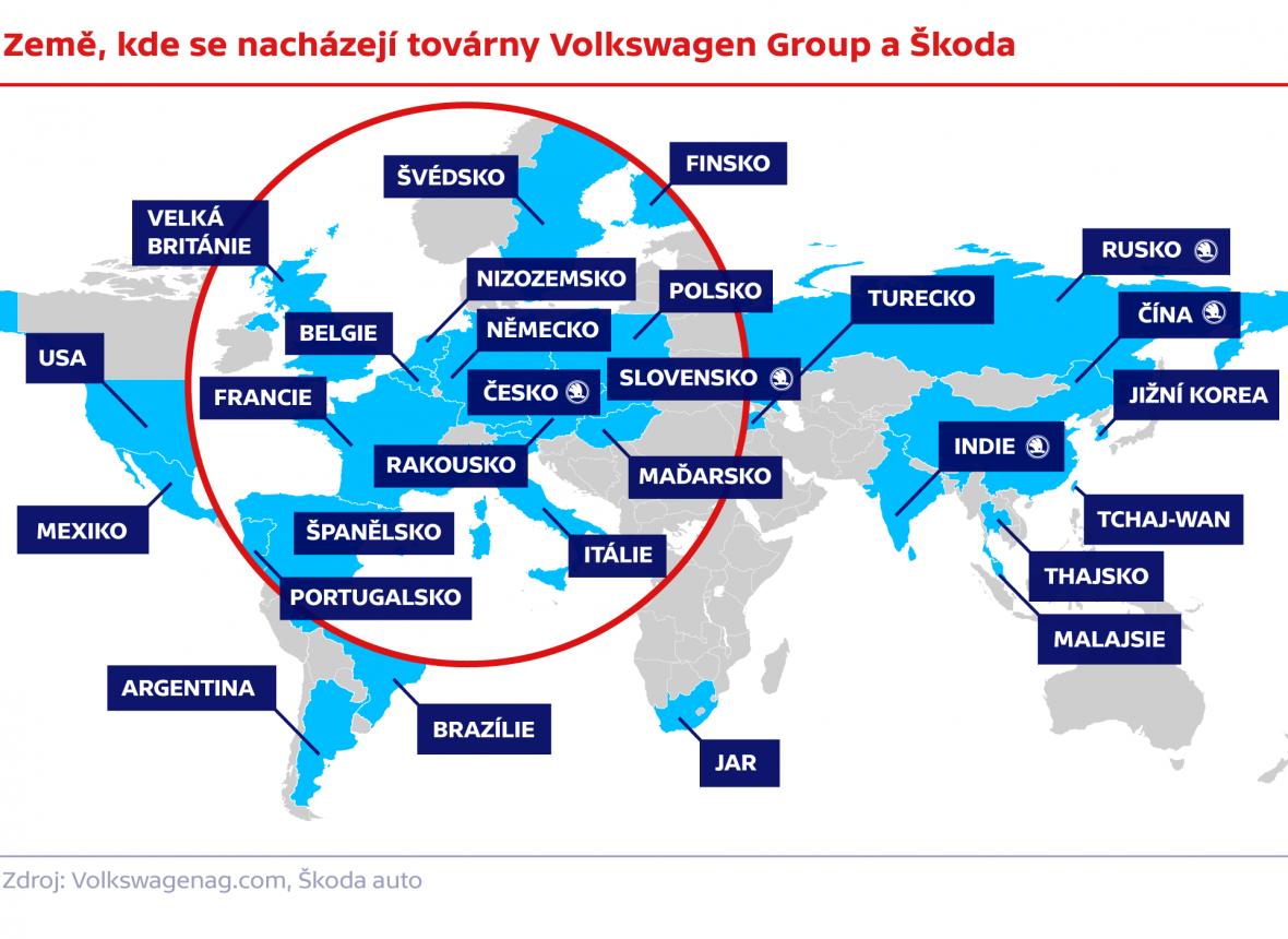 Země, kde se nacházejí továrny Volkswagen Group