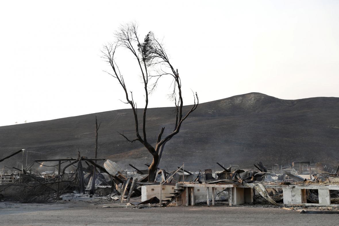Následky požáru v Sonomě