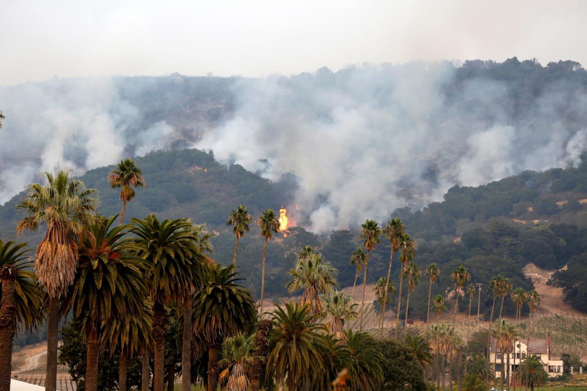 Plameny v oblasti Napa Valley