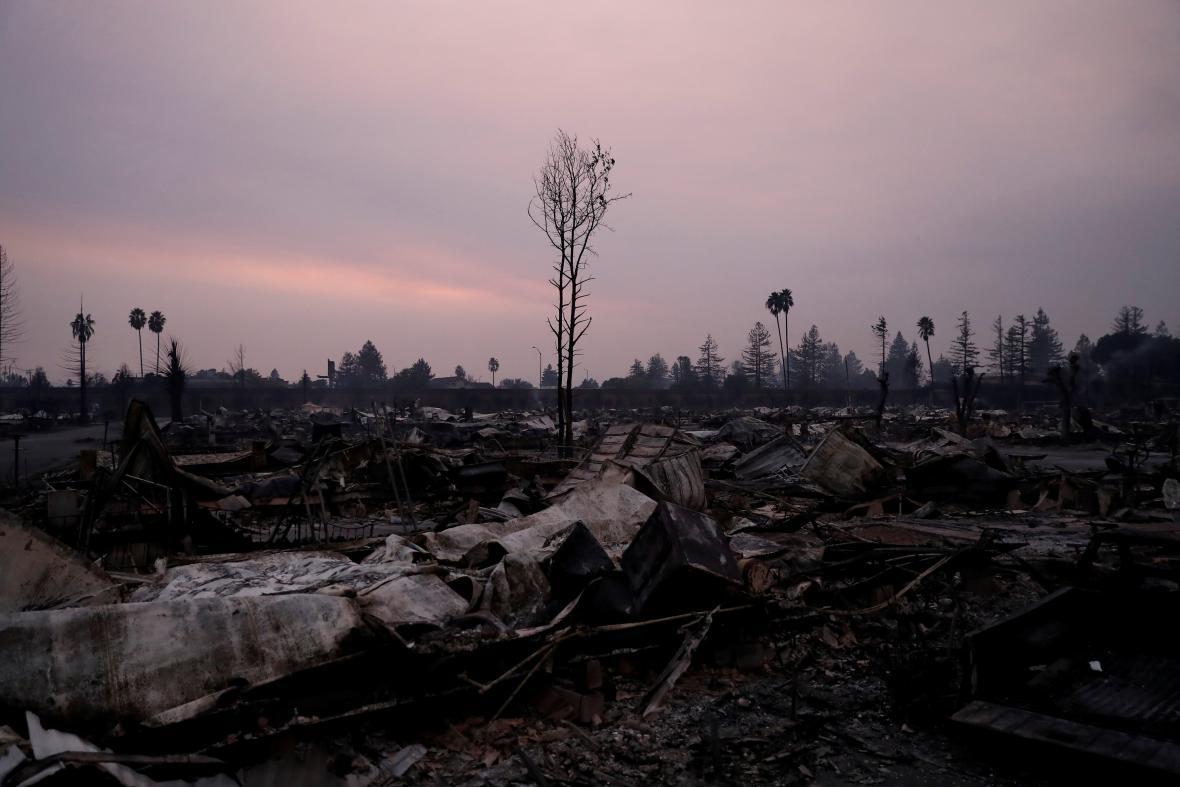 Zničená oblast v Kalifornii