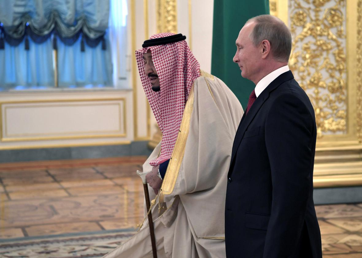 Ruský prezident Putin se saúdským králem Salmánem