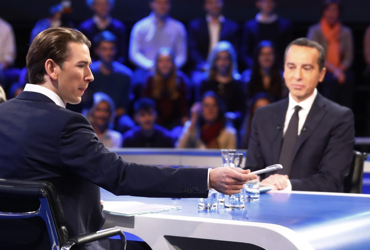 Kurz a Kern během jednoho z předvolebních duelů