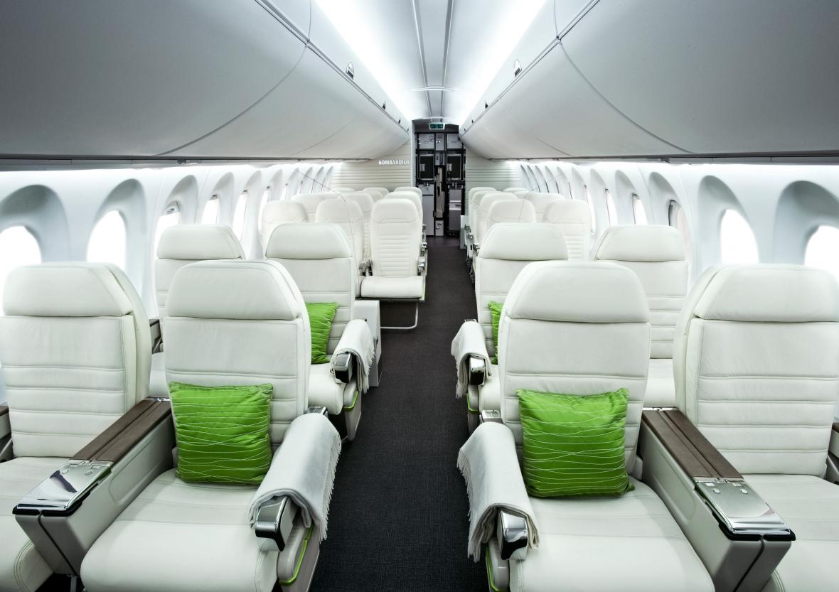 Interiér letounu z produkce CSeries