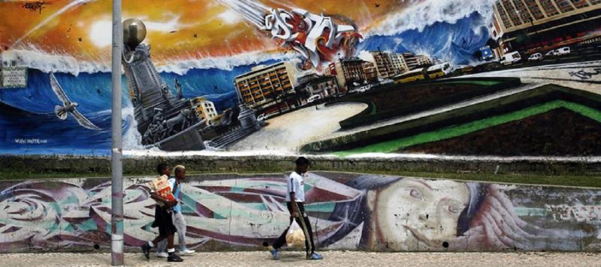 Street art v Lisabonu připomínající katastrofu z roku 1755