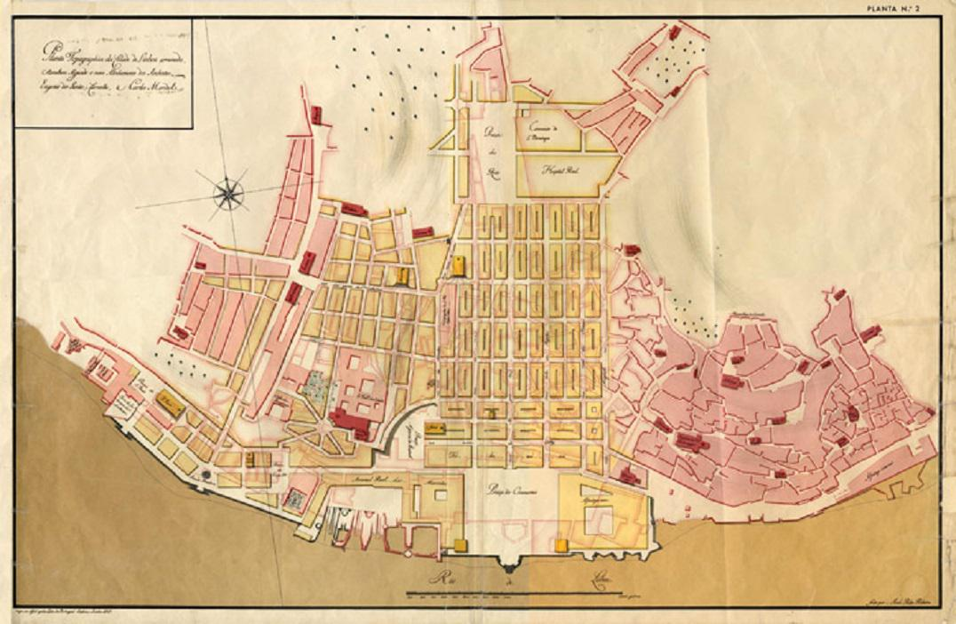Historická mapa zaplavené čtvrti Baixa