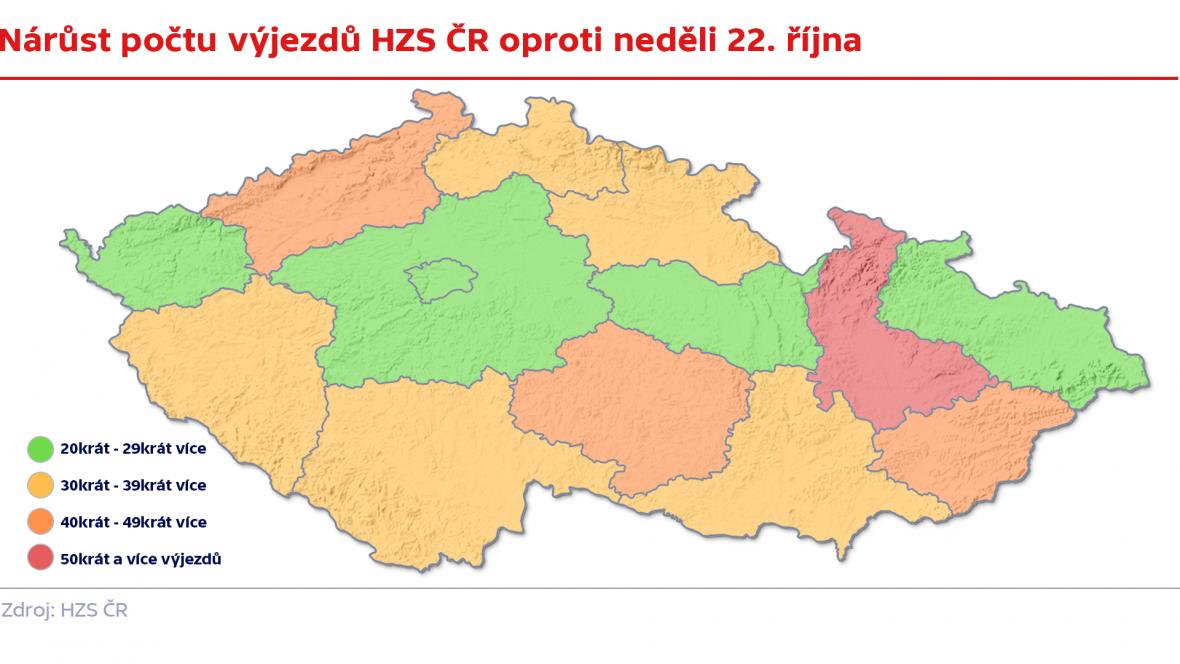Nárůst počtu výjezdů HZS ČR 29. 10. oproti 22. 10.