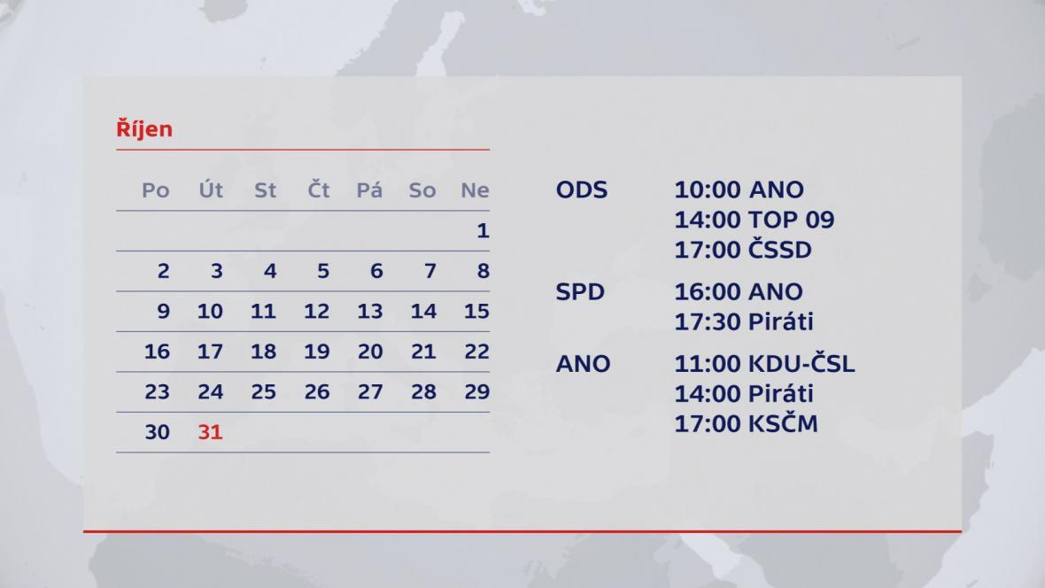 Plán povolebního vyjednávání na 31. října