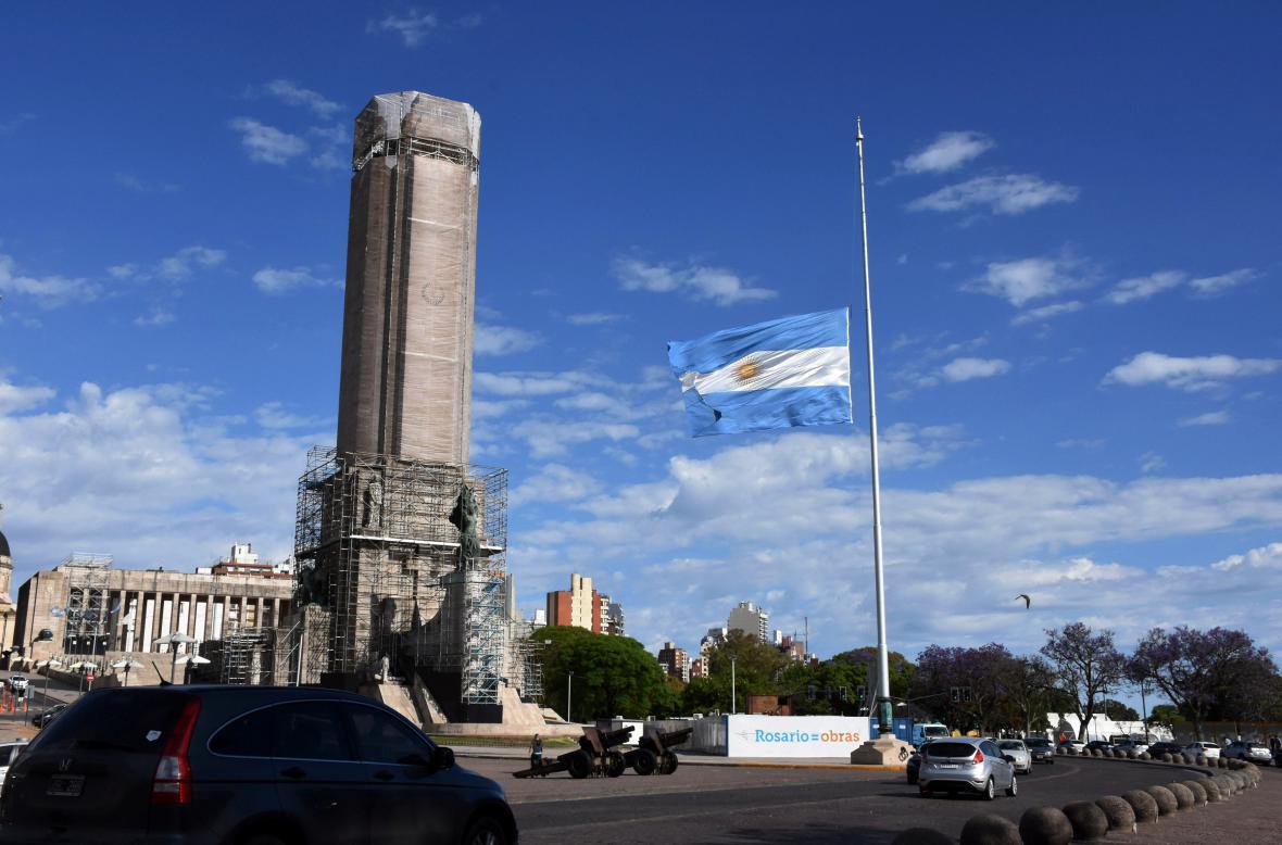 Argentinská vlajka na půl žerdi