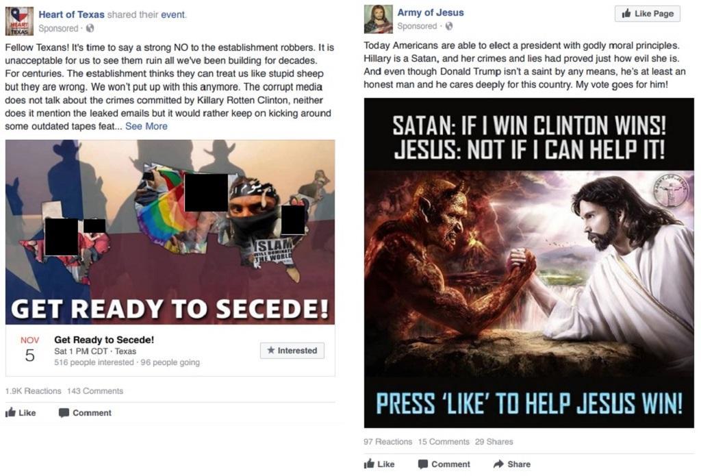 Příklad ruských inzerátů pro americké uživatele sociálních sítí