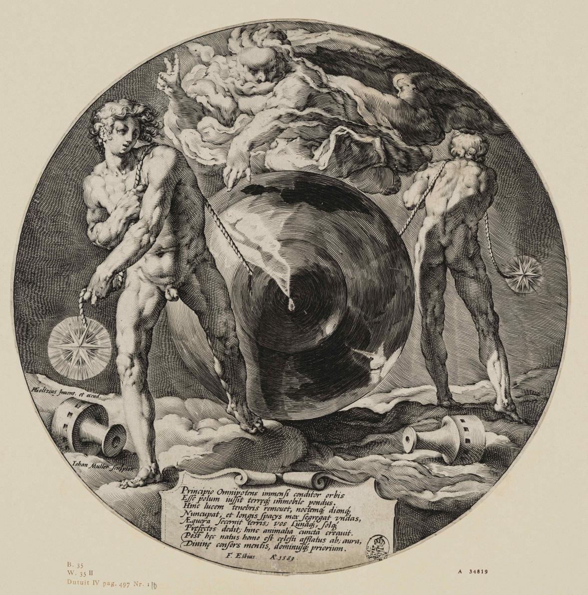 Jan Muller podle díla Hendricka Goltziuse / Bůh stvořil svět, 1589