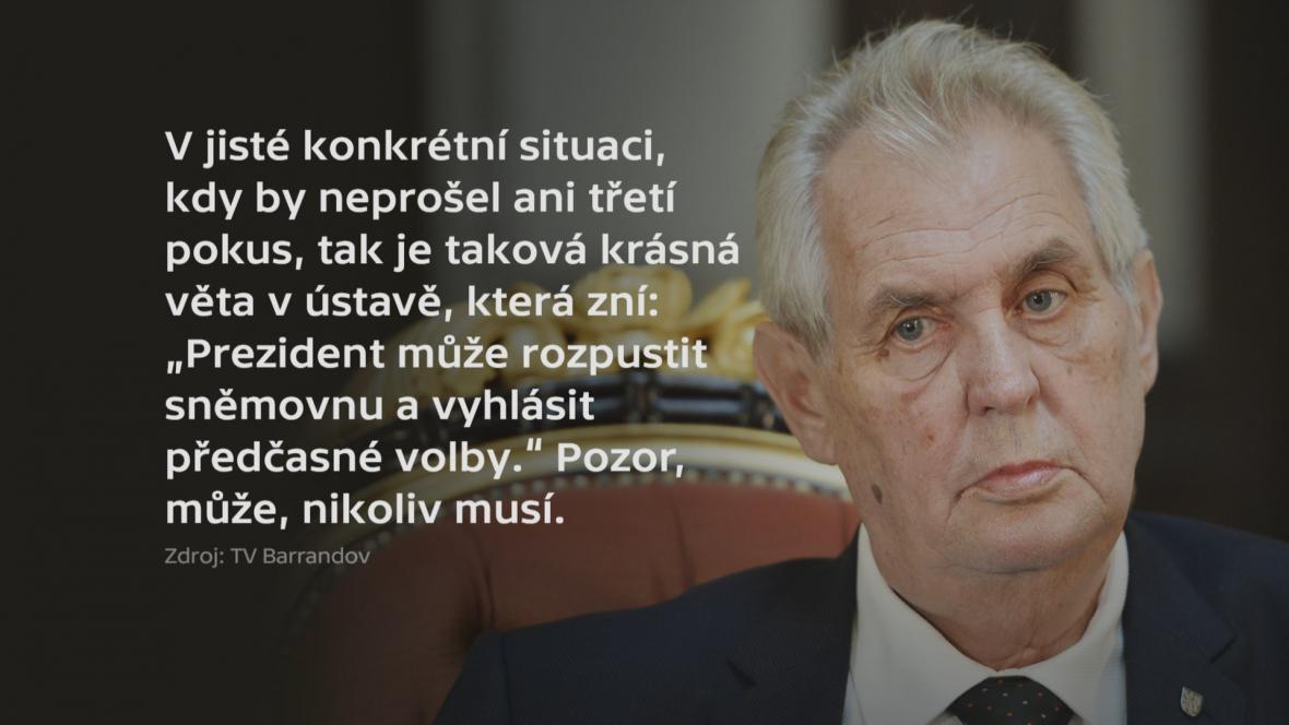 Miloš Zeman k povolební situaci