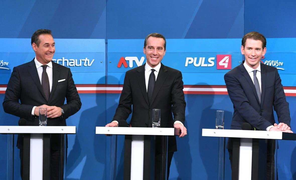 Strache, Kern a Kurz během předvolební kampaně