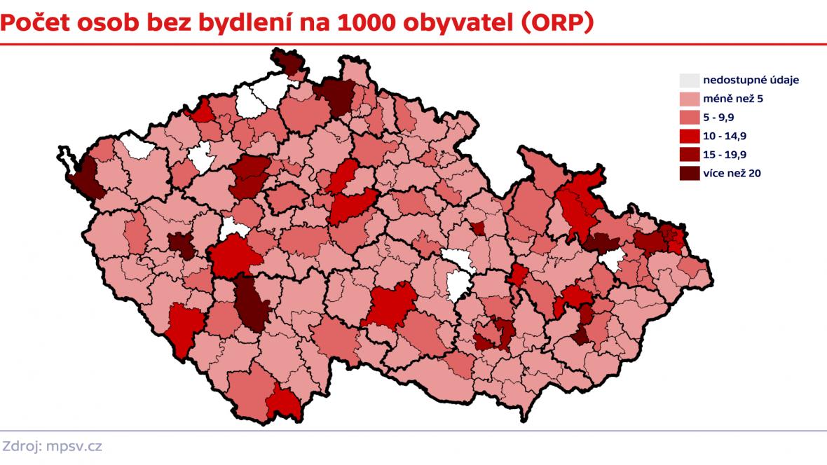 Počet lidí bez bydlení