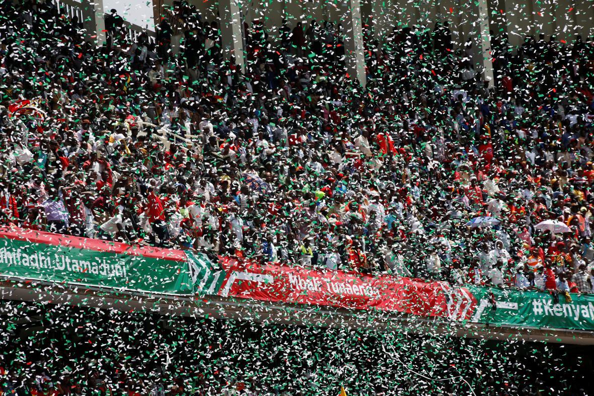 Stadion v Nairobi během přísahy prezidenta