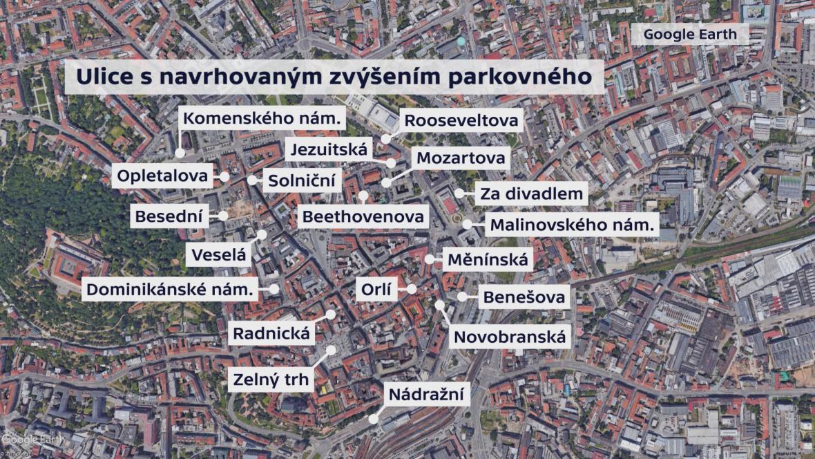 Ulice v centru Brna, kde by se měly zvýšit ceny parkovného