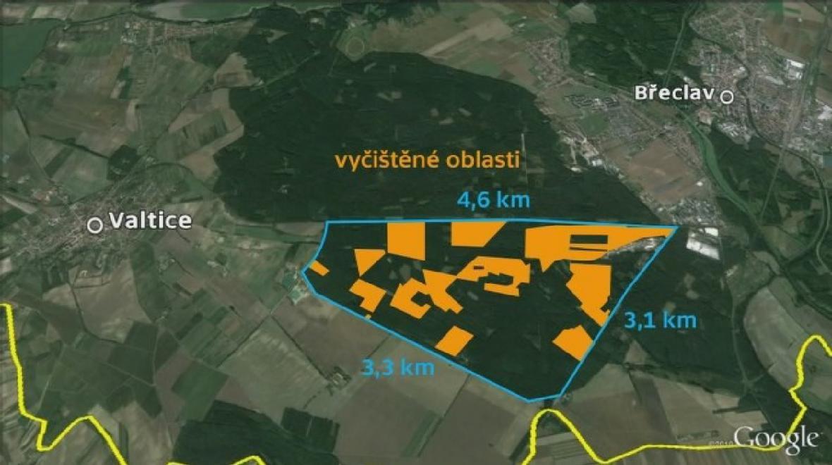 Vyčištěné oblasti v Bořím lese