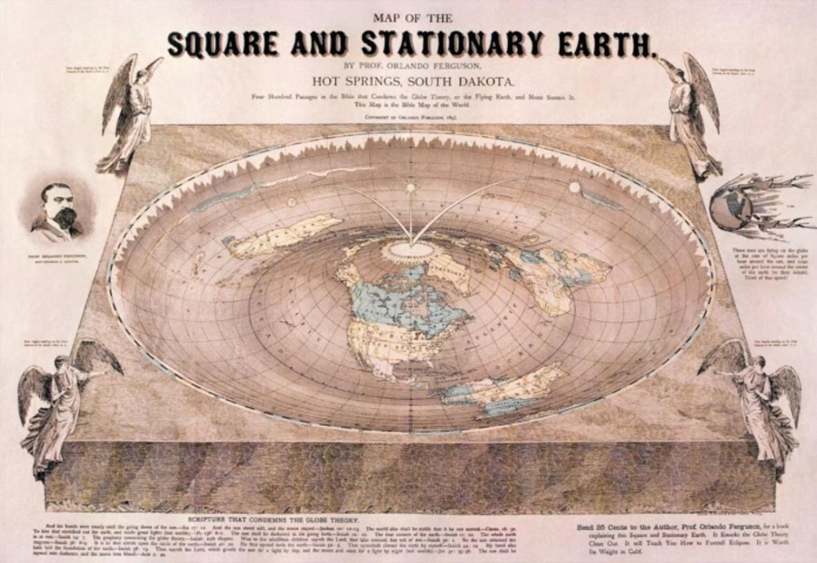 Vzhled ploché Země podle teorie z 19. století