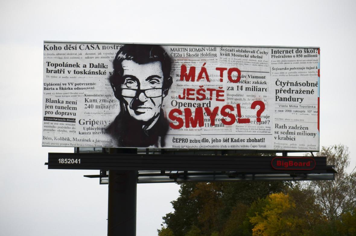 Billboard Andreje Babiše v říjnu 2012