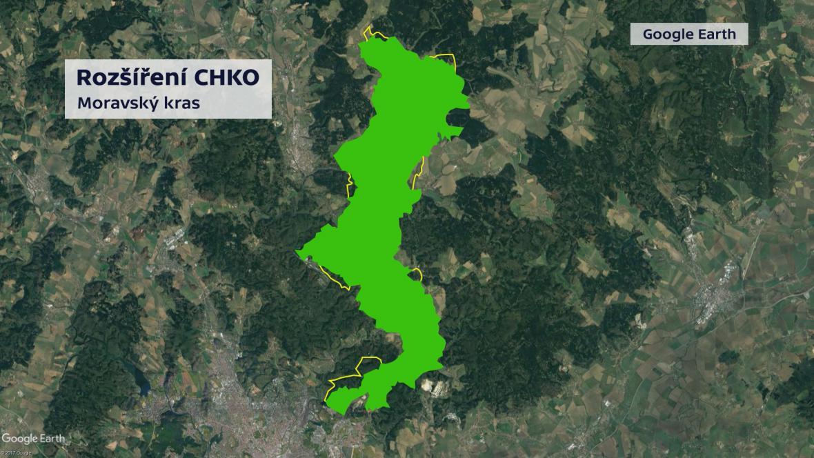 Žlutě vyznačené nové hranice CHKO Moravský kras