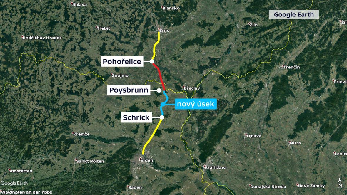 Na trase Brno - Vídeň chybí červeně znázorněný úsek mezi Pohořelicemi a Mikulovem