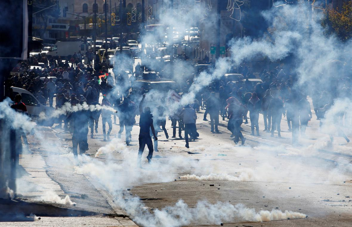 Protesty Palestinců v Betlémě