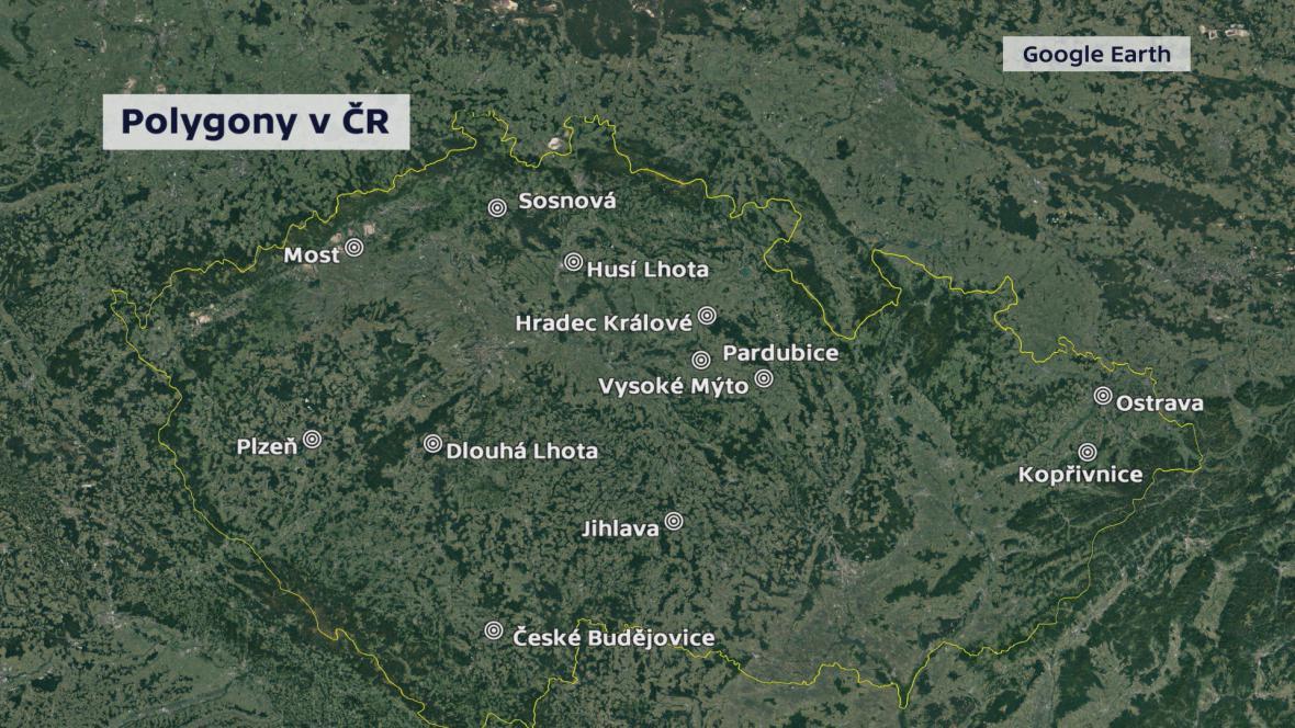 Přehled polygonů v Česku