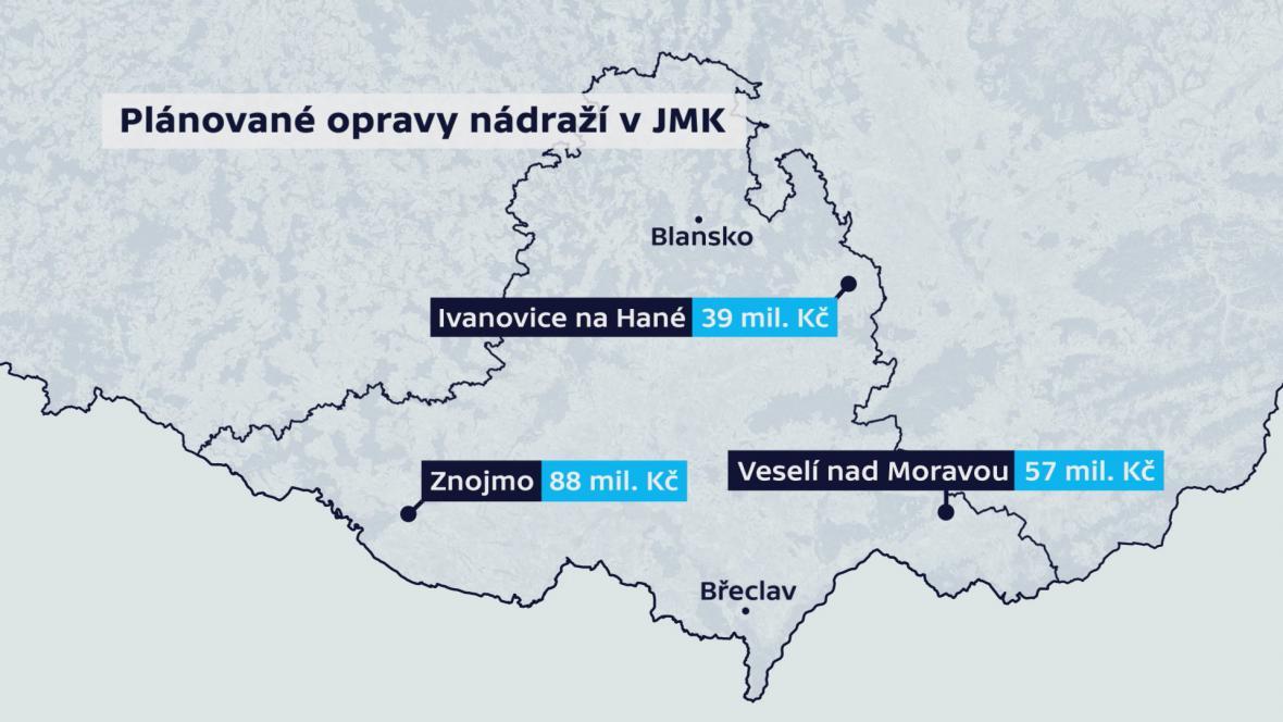 Plánované investice do oprav nádraží v JMK