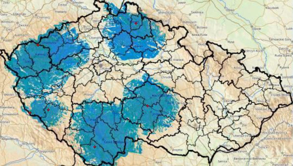 Mapa dotčených oblastí (vysílače označeny červeně)