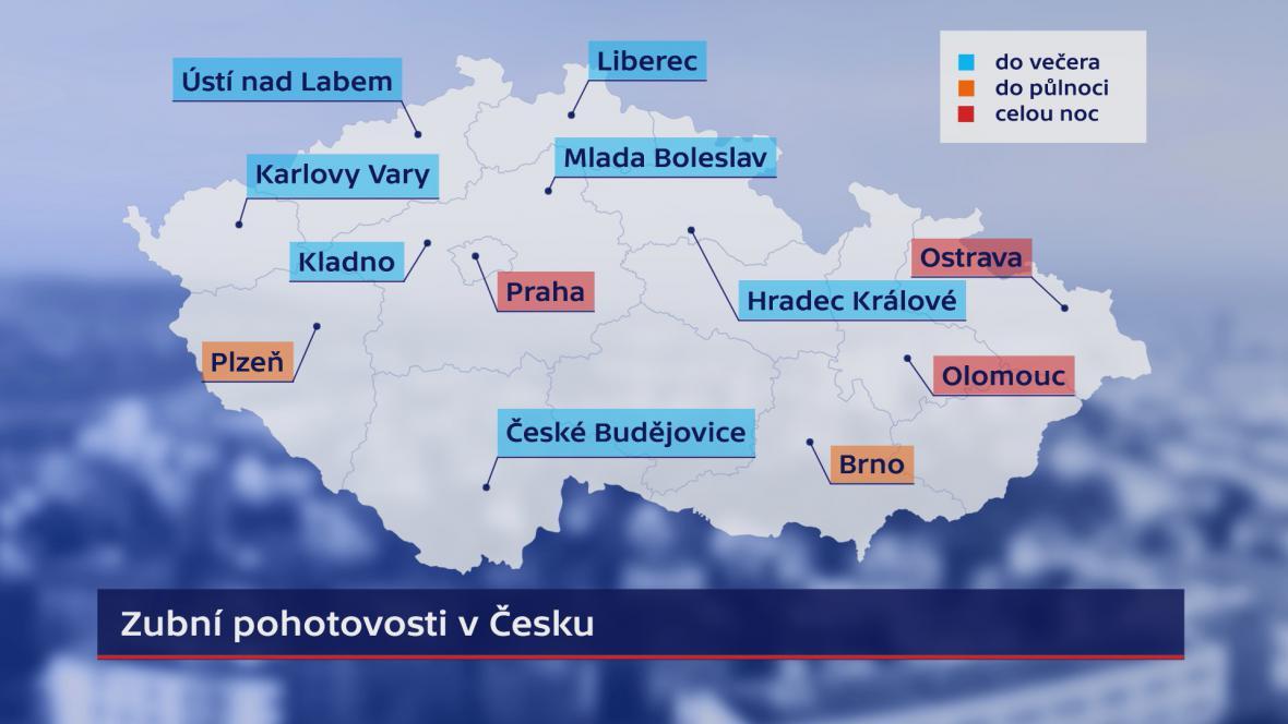 Zubní pohotovosti v Česku