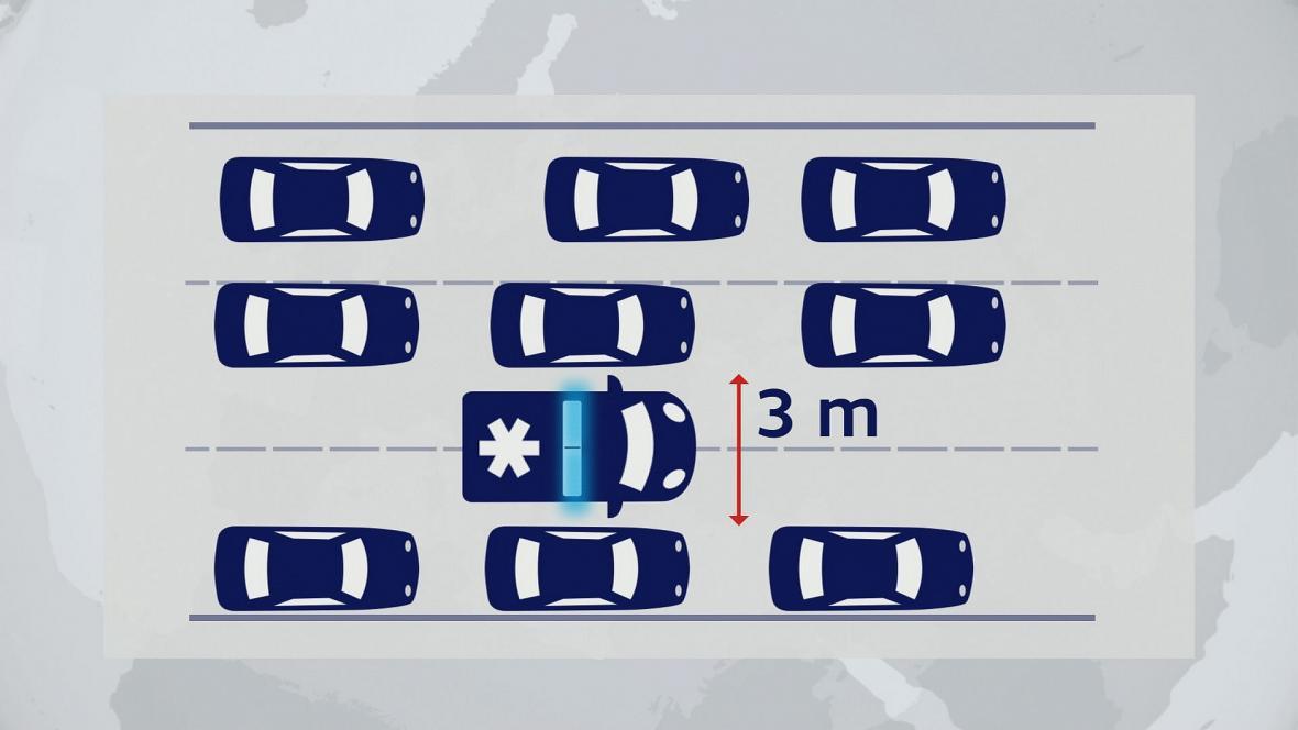 Na tříproudové silnici musí řidiči jedoucí ve středním a levém pruhu k levé krajnici. Ti v pravém musí doprava