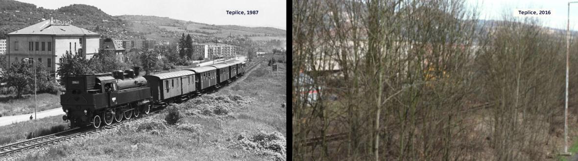 Trať v Teplicích ze stejného místa v roce 1987 a vloni