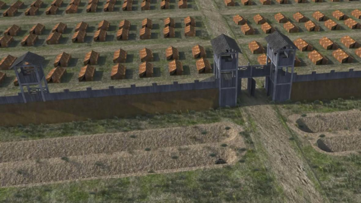 Vizualizace opevnění tábora římské armády