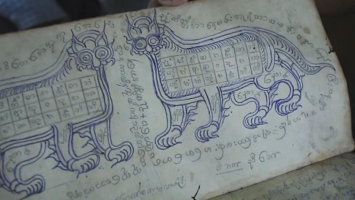 Motivy tradiční tetování v Myanmaru