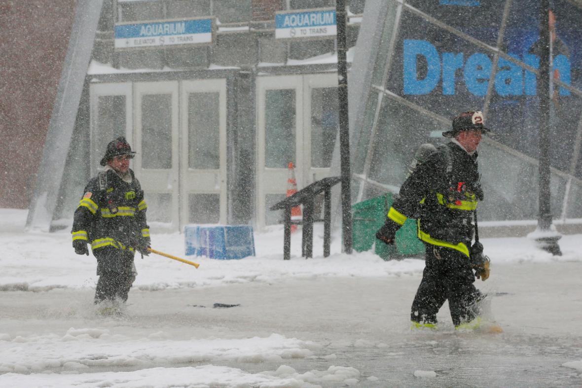 Zaplavená ulice v Bostonu