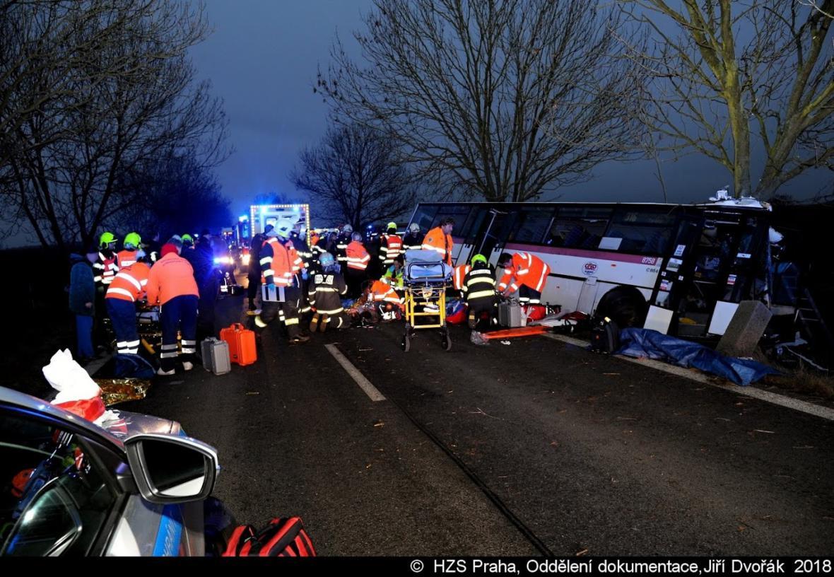 Nehoda autobusu u Horoměřic