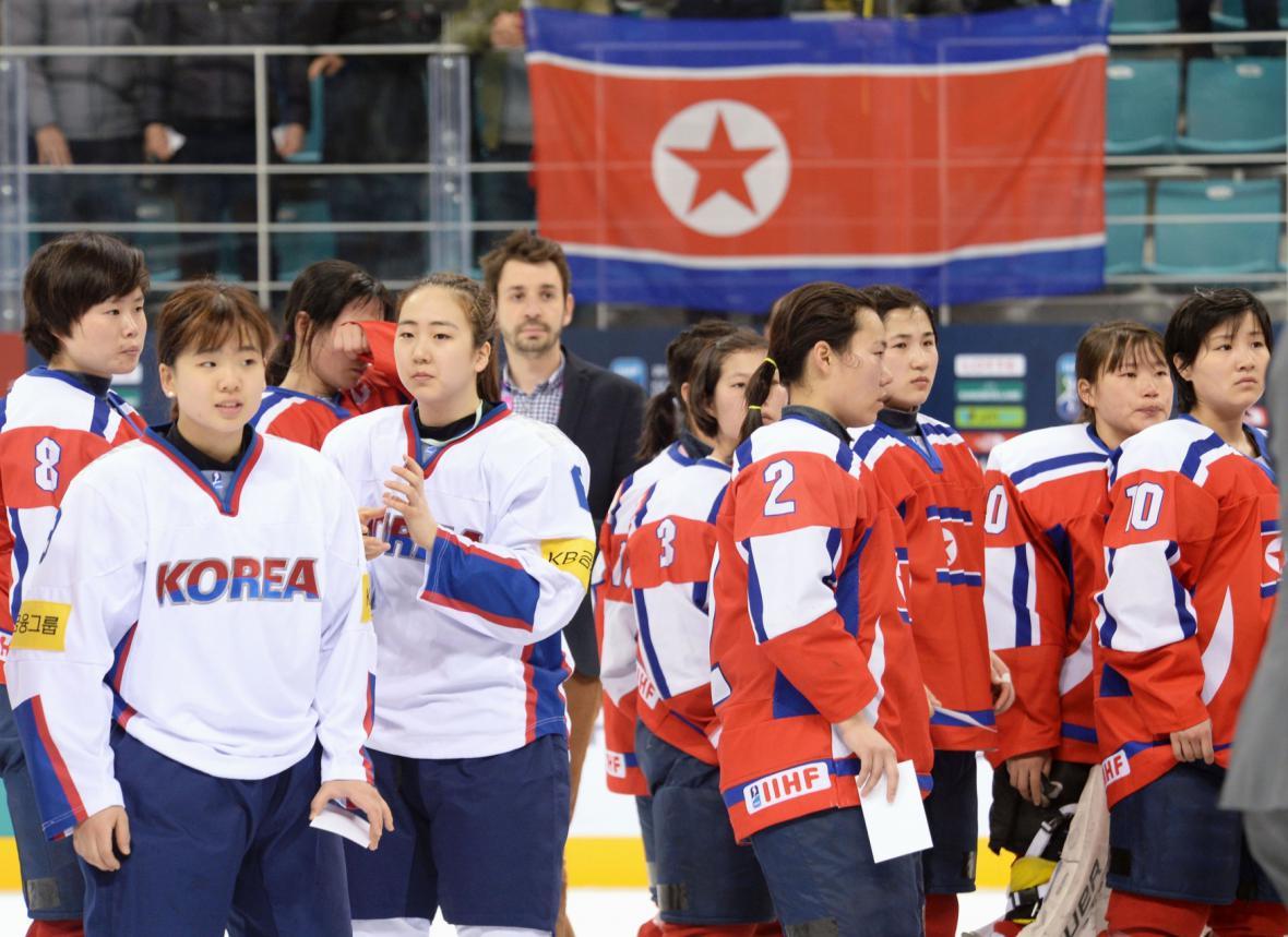 Přátelský zápas hokejistek Severní a Jižní Koreje v dubnu 2017