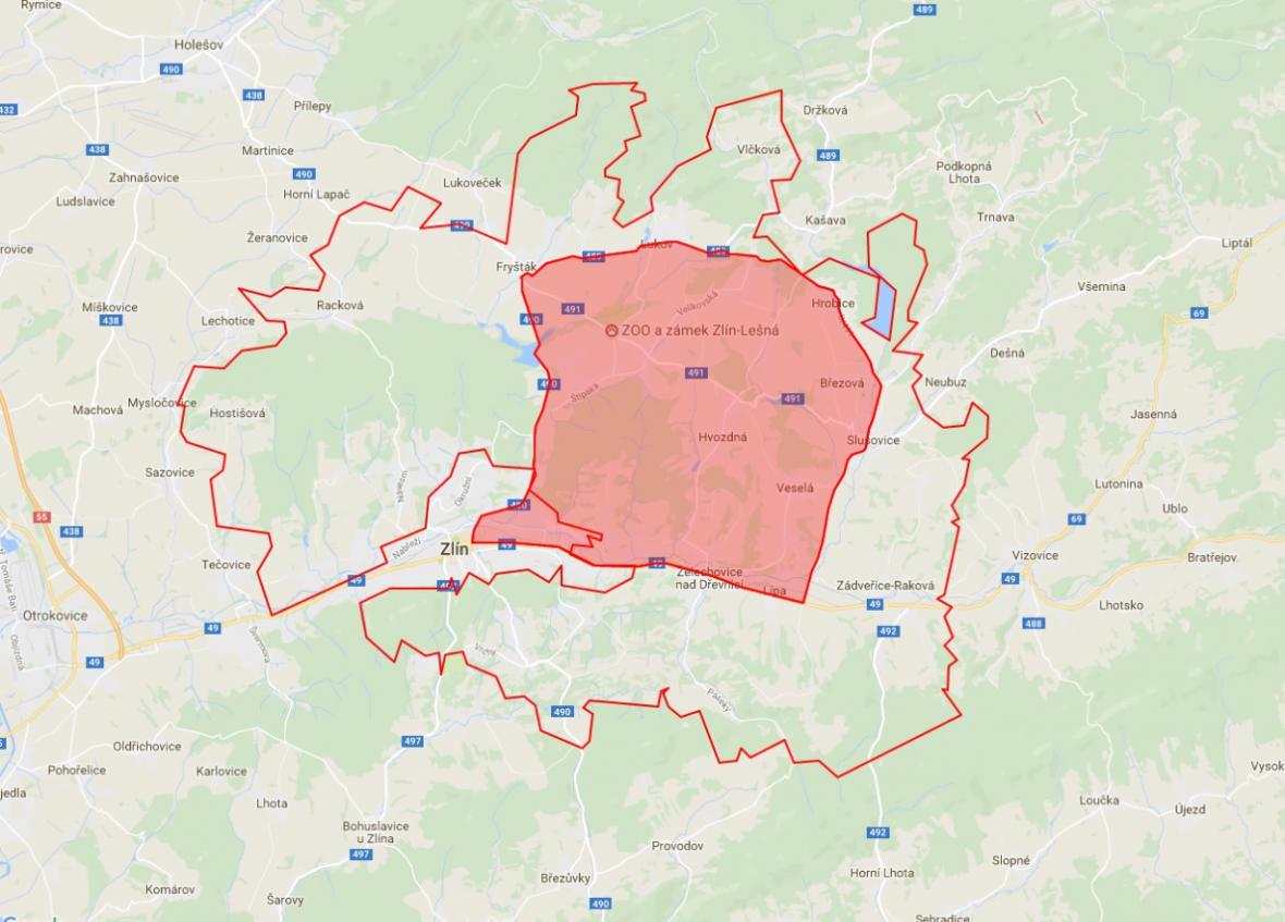 Původní zamořená oblast se zvětšenou rizikovou zónou uprostřed
